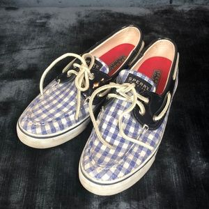 Checkered sequined boat shoe